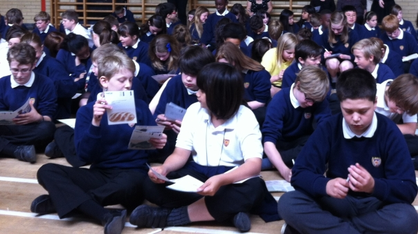 Pupils use the action cards to write messages to the Prime Minister