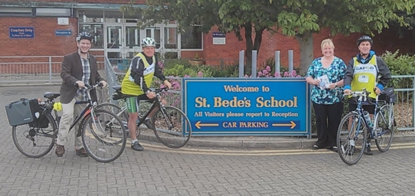 Mark and Fred are greeted by Stephen and Holly at St Bede's