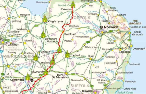 Pilgrim Route to Walsingham from London (with CAFOD contacts)