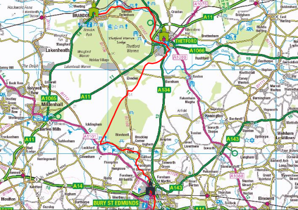 Pilgrim Route to Walsingham via Brandon from Bury St Edmunds along St Edmund's Way (with CAFOD contacts)