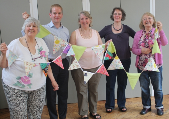 Creating bunting to redecorate the streets of Westminster on 17 June