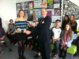 St Alban's sixth form cheque donation (I've got a press release for this)